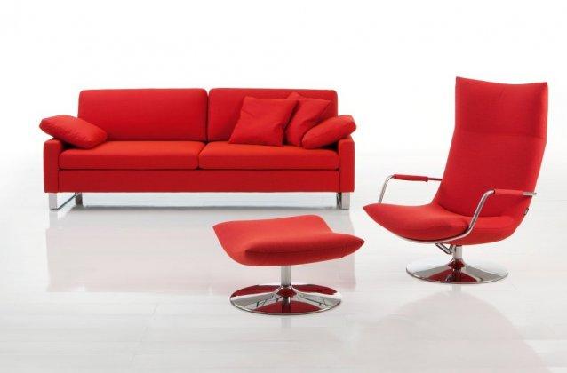 Albo Couch mit Sessel und Fusshocker in rot