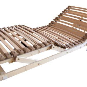 Lattenrost Flexo mit 28 Federleisten aus schichtverleimter Buche, gelagert in elastischen Kautschukkappen. Motorrahmen für Sitz- und Fußhochstellung. Einbauhöhe: 13 cm.