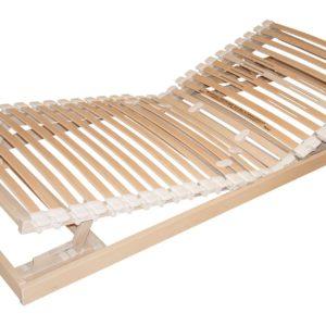 Lattenrost Flexo mit 28 Federleisten aus schichtverleimter Buche, gelagert in elastischen Kautschukkappen. Mit metallfreier Sitz- und Fußhochstellung. Niedrige Einbauhöhe: 9 cm.