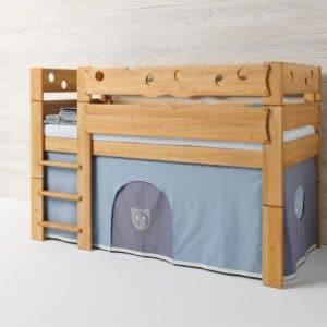Höhlenbett MOBILE Farbwelt Bär in blau. Bett Mobile in Erle.