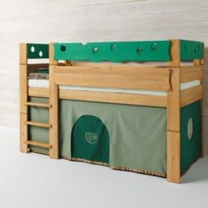 Höhlenbett MOBILE in Farbwelt Eule in grün. Bett Mobile in Erle.