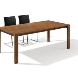Tisch Magnum ohne Auszug in Nussbaum mit Freischwinger.