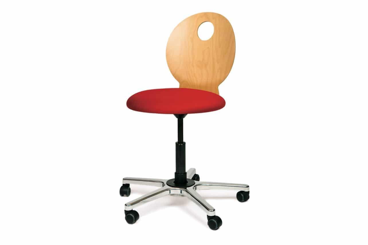 ergonomischer Bürostuhl M34 mit Rückenlehne aus Holz, geeignet für Jugendliche