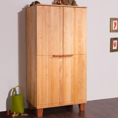 Kinder-/ Jugendschrank BeneVita mit zwei Türen, massives Erlenholz
