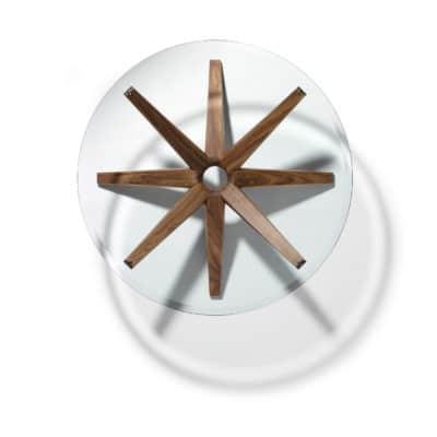 Nussbaum Couchtisch mit Glasplatte in rund.