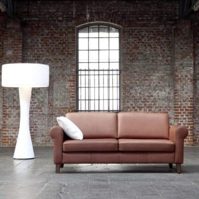 klassisches Leder-Sofa Sirio in Ecopell Leder weinrot